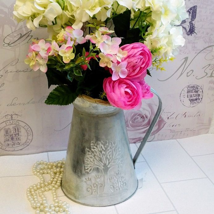 30% off Large tin flower jug with tree and flower detail